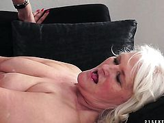 Mature with massive tits gets her pussy stretched by hard meat pole