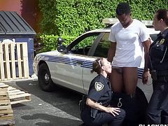 Two nasty police women fuck one arrested BBC right in the street