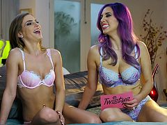 Two alluringly sexy babes are being interviewed topless