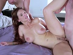Visit official Brazzers Network's HomepageSexy wife with big boobs and curvy ass, Syren De Mer, endures three guys to smash her love holes in a complete home gangbang XXX play