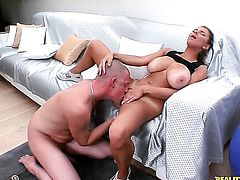 Piercings Katerina with big bottom and trimmed snatch gets her mouth stretched by beefy sturdy dick of David