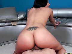 Tattooed Coco Valentina with bubbly butt has fire in her eyes as she gets her mouth drilled by her bang buddy