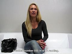 This model was failed in a private interview, but she wanted this role at any cost. She offered to have sex on the spot, if she will be selected. She undressed herself and laid down on the sofa. The director was rubbing his hand slowly on her pussy, while she was sucking his erected dick...