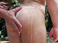 Blonde Dani Lane with big ass and clean snatch wraps her lips around guys throbbing love wand