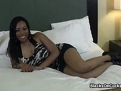Big black tits having fun on casting