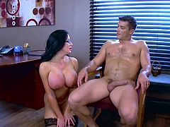 Visit official Brazzers Network's HomepageNude female boss, Sybil Stallone, calls in the new guy to smash her mature vagina with his big and juciy cock, all in a strong XXX office show
