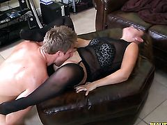 Brunette senorita with round bottom and clean muff is totally happy to be mouth fucked by Levi Cash over and over again