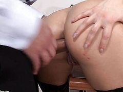 Brunette with big hooters loves getting her throat stuffed by horny fuck buddy