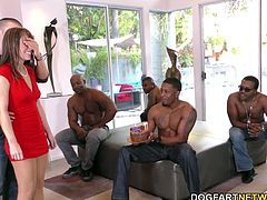 Black cock slut Alana Cruise celebrates her birthday with a group of black men. It's a nice gift from her step-son Cody. He watches his stepmom ges DP'd by BBCs...