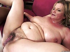Blonde chick with huge hooters gets her mouth attacked by guys thick stiff tool