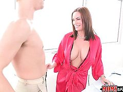 Xander Corvus makes his throbbing sausage disappear in devilishly sexy Abby Crosss mouth