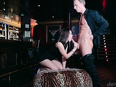 Zoe was alone at the bar, luckily her daring sex partner came and picked her up. The guy was so hot that she kissed him and grabbed his dick. She sucked his big cock and balls. He lifted up her dress and licked her juicy pussy. Watch as she takes it hard from behind.