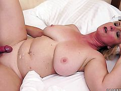Milf with massive breasts gets her mouth stretched by dudes erect meat stick