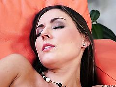 Brunette does striptease before she masturbates with desire