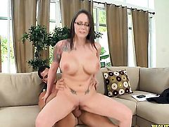 Brunette Ashton Pierce with gigantic breasts and shaved pussy is in heat in steamy oral action with hot guy