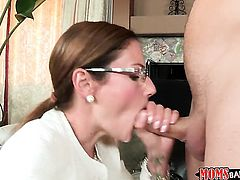 Brunette Samantha Ryan with hairless beaver shows her oral talents to Michael Vegas