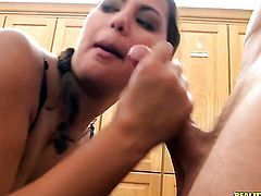 Levi Cash uses his thick ram rod to bring blowjob addict Brunette latin Adriana to the height of pleasure