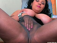 MILF BBW in Pantyhose masturbates On The Stairs