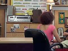 Big tits ebony babe intensely fucked in the pawnshop