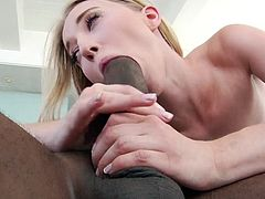 Hot blonde Taking it big and black