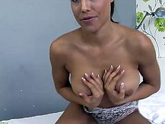 Tight and busty Satin Bloom gets naked and masturbates