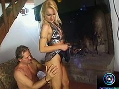 Blonde cutie surprises her fuck buddy as she wears this skimpy silver uniform for the first time and she immediately shows her tight pink pussy and she let her partner spread her hole as he make way to finger that splendidly before she starts sitting on his face letting her smother her cunt while she got fingerfucked on her butt.