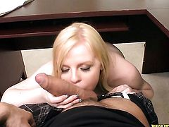 Blonde with round ass and bald bush does dirty things and then gets her pretty face painted with cock juice