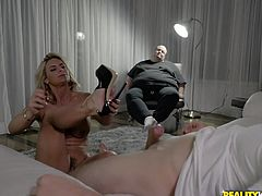 Fat dude gets to watch his hot wife turn into a real freak! Her lover's cock makes her lose her mind and she uses feet, throat, armpits, hands, pussy and asshole to please him, while her husband can only watch