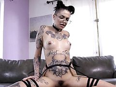 Visit official Burning Angel's HomepageCurvy ass Leigh Raven stands with man's huge cock down the pussy while moaning and undulating like a whore, moments before sperm jizzing her glasses