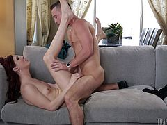 Cute redheaded shemale Stefanie had a cock that is sticking straight up, as she is being fucked hard by her man. Her plows her ass so deep with his dong and she bounces up and down on his shaft. She will cum with his cock in her ass.