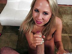 Blonde loves getting her pretty face jizz covered