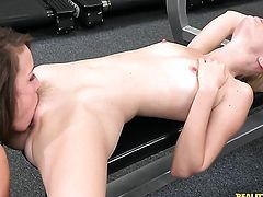 Brunette Charlotte Stokely makes her sexual fantasies a reality in solo scene