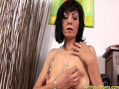 skinny horny czech mom rubbing her wet shaved pussy and plays with a big dildo