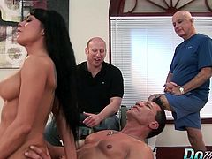 Brunette wife sucks a dicks and then gets fucked hard and deep in her pussy and asshole so good The guy cums in her mouth and her hubby enjoy watching these