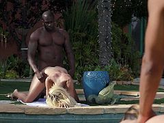 It looks like they are boasting in front of each other. These horny interracial couples are fucking on the both sides of their backyards, trying to amaze each other by how good they are at love making. I think, they should better unite with each other, for more pleasure. What do you think?