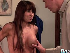 Horny milf gets naked and kiss a guy suck his dick Then gets her pussy fucked good and deep in many positions He cums on her face and her hubby enjoy watching it all