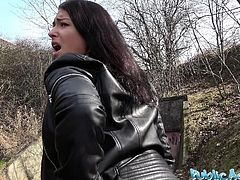 Public Agent Russian waitress fucked outside in public