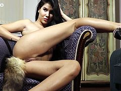 Slutty babe with fox tail Lady Dee masturbates her charming twat