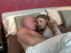 Gia Jakarta seduced by a bald guy for a nasty plowing game