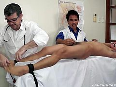 Argie comes to Doctor Tickles and gets treated to a tickle fetish fiesta of ticklish treatment. Doctor Jacob does a foot tickling workover that sends Argie into hysterics. Then the gang up tickle with Argie naked on the tickling rack ends with a blowjob and cumshot.