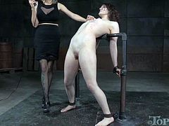Sassy mistress punished naughty chick Endza Adair in the dark basement