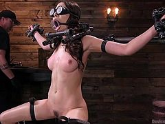 This is already difficult enough not to know and not to see what will follow, but even this did not seem to Melissa's tormentor enough and he takes an electric wand, wanting to add her some electric stimulation. Naked and helpless in a hard metal bondage device, she must pass through all the sufferings.