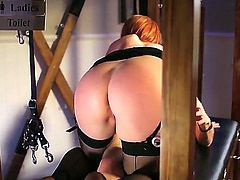 Red-haired mom Tarra White in sexy black stockings makes her dirty sex fantasies a reality in the semi-dark of the dungeon. She takes dude's love stick in her milf ass! Watch slutty milf get cornholed.