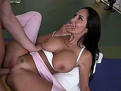 Big meloned dark haired MILF Ava Addams dressed in pink keeps her legs spread wide open as horny dude bangs her fuck hole like there's no tomorrow. He makes big titted horny woman happy at the gym.