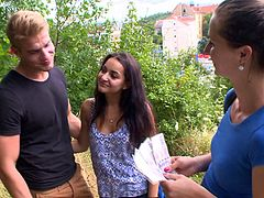 This hot czech couple is always horny. They meet a film producer on the street and she offers to give them some cash, if they fuck each other out in the woods. Of course they agree and have some hardcore sex outdoors.