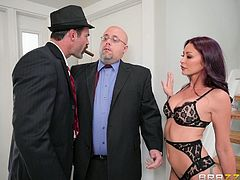 Monique's husband has some financial troubles, especially when he's after betting too much. Charles comes to collect and after confronting the offender, his hot wife comes down to see what's going on. Looks like she'll have to pay up this time, but she really doesn't mind, as long as she gets laid.