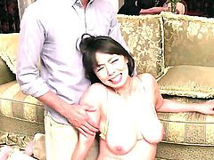 Nasty Japanese milf Ryoko Murakami in barely there bra gets her big natural tits covered in sticky jizz after cock sucking. Watch her milk  cocks like there's no tomorrow.