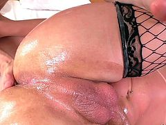 She started the foreplay by giving him a rimjob, and then he returned the favour. She took his cock deep in her tight butthole, as she tightly grabbed her massive shemale dick. This will make her cum hard for sure.