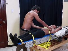 Straight Asian Boy Willy Tied and Tickled