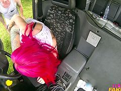 She won't take this passenger home until he fucks her and makes her cum hard. She stops the cab and bends over in the backseat, so he can rail her. He gets her off and she lets him fuck her big breasts.